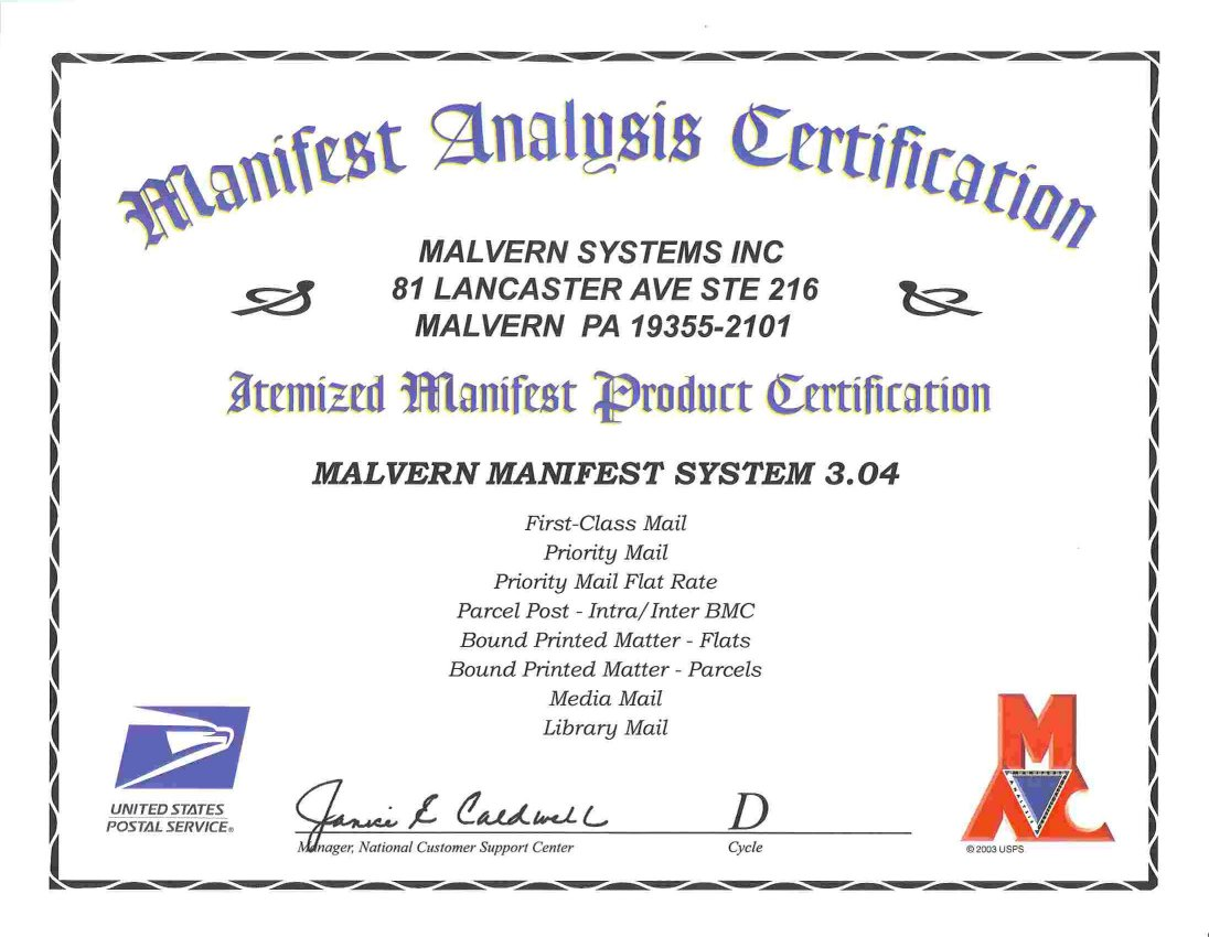 Postal Manifesting - MAC Certification